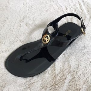 Michael kors jelly black gold sandals shoes thong